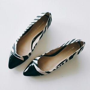 Franco Sarto Satin Zebra Flats + Black Leather Toe
